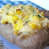 Corn Stuffed Baked Potato Skins