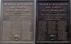 WWI Plaque - Before and After cleaning/waxing.